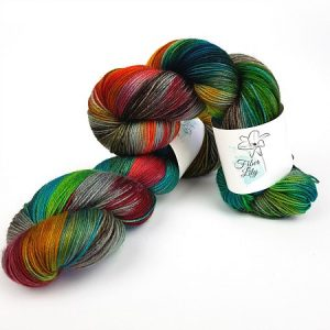 Friller hand dyed yarn by Fiber Lily Australia variegated with black grey red blue green and gold tones