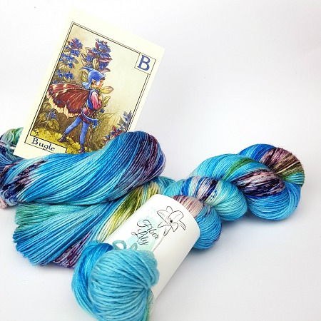 Bugle Fairy A Fiber Lily hand dyed yarn Australia Flower Fairies colourway blue, green and burgundy variegated with speckles for knitting and crochet 1