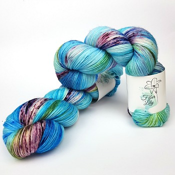Bugle Fairy A Fiber Lily hand dyed yarn Australia Flower Fairies colourway blue, green and burgundy variegated with speckles wool for knitting and crochet
