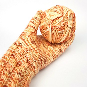 Hush creamy apricot speckled hand dyed yarn by Fiber Lily Australia knit sample