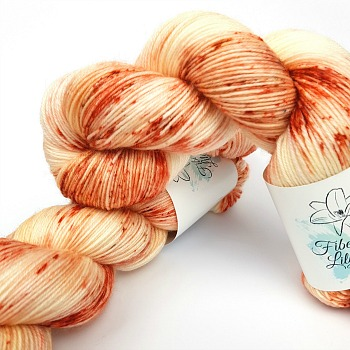 Hush creamy apricot speckled hand dyed yarn by Fiber Lily Australia knitting crochet wool
