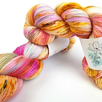 Am I only dreaming hand dyed yarn by Fiber Lily Australia pink purple yellow orange blue speckled wool1