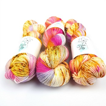 Am I only dreaming hand dyed yarn by Fiber Lily Australia pink purple yellow orange blue speckled wool5