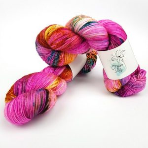 Firefly hand dyed yarn by Fiber Lily Australia fuchsia with blue, gold and brown speckles non mulesed Australian wool 4