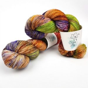 Foliage hand dyed yarn by Fiber Lily Australia speckled green, purple, pink, orange, brown wool 5