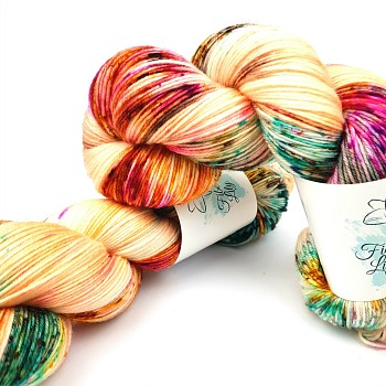 Polly hand dyed yarn by Fiber Lily Australia apricot with aqua blue, gold, fuchsia and brown speckles non mulesed Australian wool 1