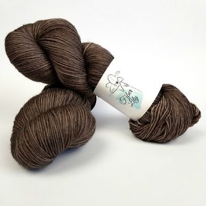 Cocoa Bean tonal rich dark brown hand dyed yarn by Fiber Lily Australia