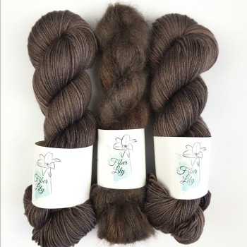 Cocoa Bean tonal rich dark brown hand dyed yarn by Fiber Lily Australia sock yarn and mohair silk