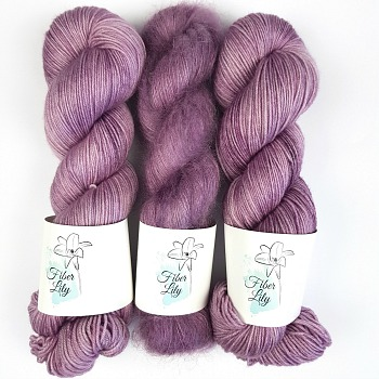 Melody tonal amethyst purple hand dyed yarn by Fiber Lily Australia sock yarn and mohair silk