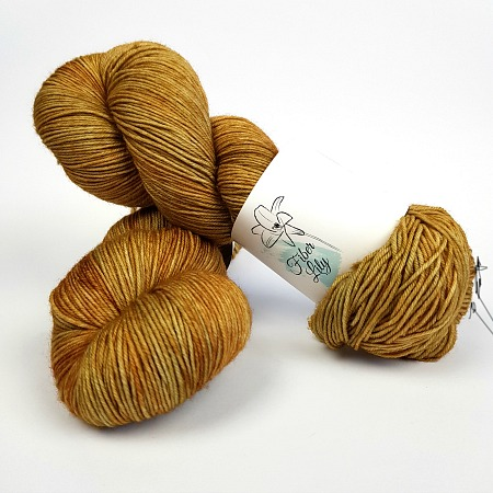 Old Gold tonal earthy gold hand dyed yarn by Fiber Lily Australia