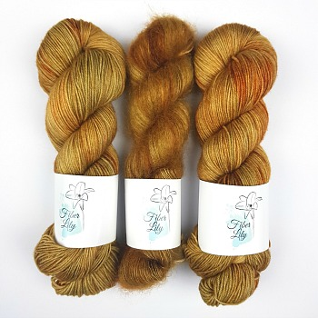 Old Gold tonal earthy gold hand dyed yarn for knitting and crochet by Fiber Lily Australia mohair silk merino wool