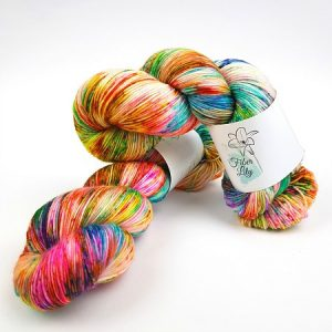Tingle hand dyed yarn by Fiber Lily Australia speckled vibrant colourway