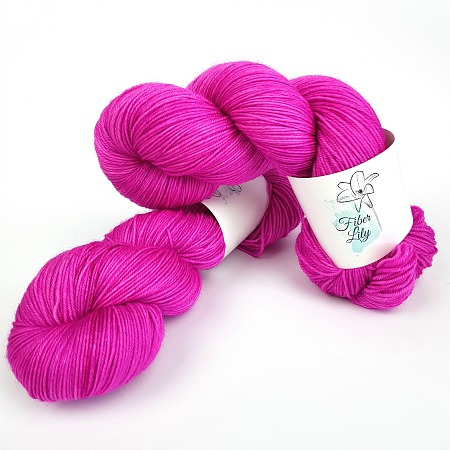 Magnetta Pop hand dyed yarn by Fiber Lily Australia fuschia semi solid non mulesed Australian wool