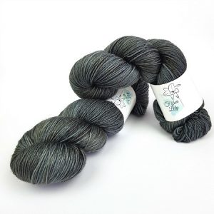 Slate hand dyed yarn by Fiber Lily Australia gun metal grey semi solid tonal colourway