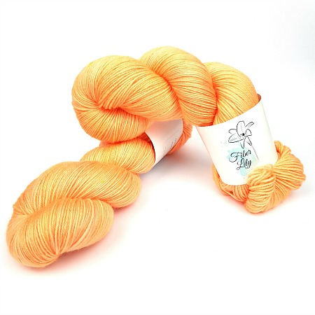 Tang hand dyed yarn by Fiber Lily Australia bright apricot semi solid non mulesed Australian wool for knitting and crochet 1