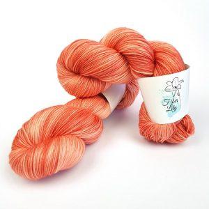 Whisper hand dyed yarn by Fiber Lily Australia apricot luminance tonal peach pink coral