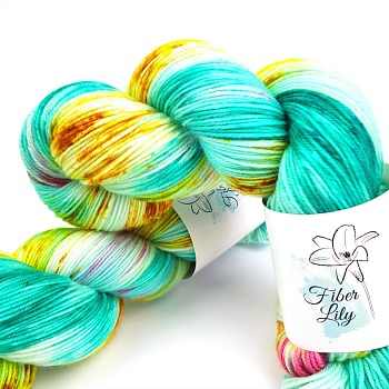carousel hand dyed yarn by Fiber Lily Australia aqua blue, gold and pink variegated speckled wool for knitting and crochet1