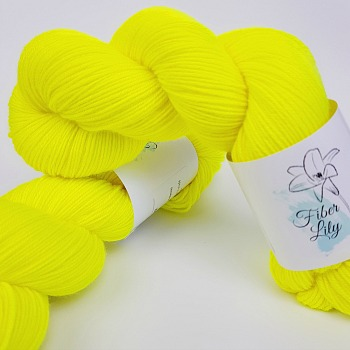 Flurellow Hand Dyed Yarn by Fiber Lily Australia bright highlighter yellow semi solid tonal colourway knitting crochet