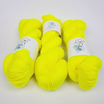 Flurellow Hand Dyed Yarn by Fiber Lily Australia bright highlighter yellow semi solid tonal colourway knitting crochet1