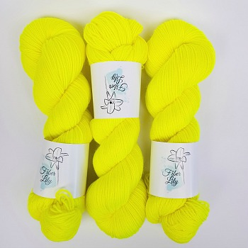 Flurellow Hand Dyed Yarn by Fiber Lily Australia bright highlighter yellow semi solid tonal colourway knitting crochet3
