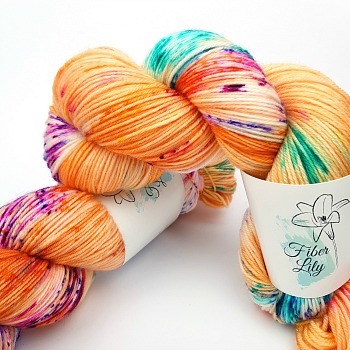 Jitterbug Fleur hand dyed yarn by Fiber Lily Australia orange with citrus, berry and turquoise speckles for knitting and crochet 1