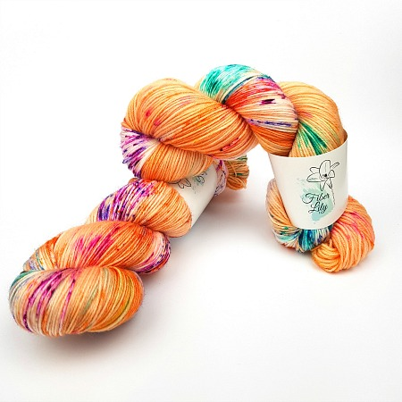 Jitterbug Fleur hand dyed yarn by Fiber Lily Australia orange with citrus, berry and turquoise speckles for knitting and crochet
