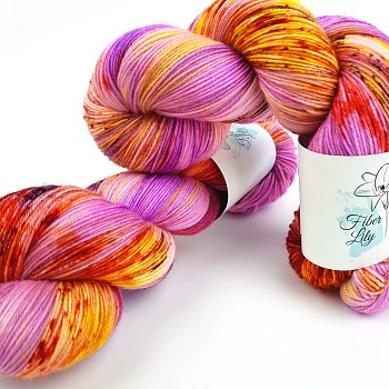 Tropicana pink purple, yellow, burnt orange hand dyed yarn wool by Fiber Lily Australia speckled variegated colourway for knitting and crochet 3