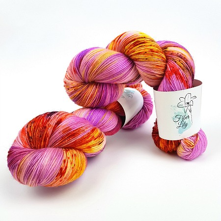 Tropicana pink purple, yellow, burnt orange hand dyed yarn wool by Fiber Lily Australia speckled variegated colourway for knitting and crochet 4