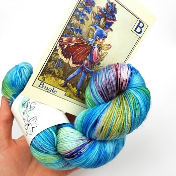 Bugle Fairy A Fiber Lily hand dyed yarn Australia Flower Fairies colourway blue, green and burgundy variegated colourway with speckles 4