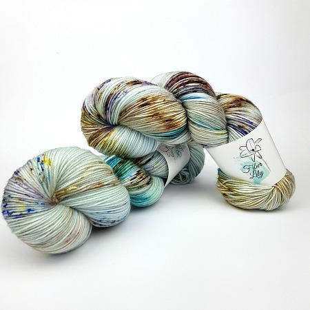 Lagoon vII speckled hand dyed yarn for kntting and crochet brown blue purple colourway by Fiber Lily Australia1