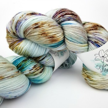 Lagoon vII speckled hand dyed yarn for kntting and crochet brown blue purple colourway by Fiber Lily Australia2