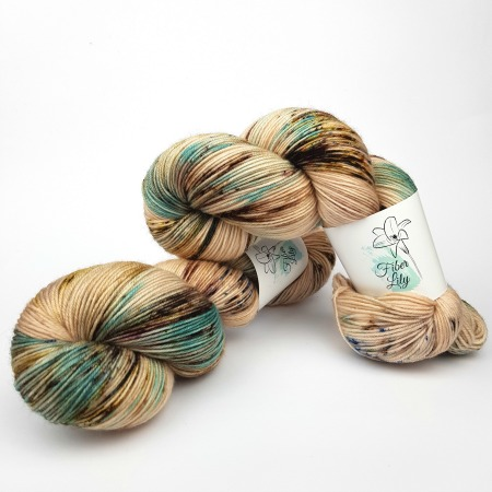 Peppermint Latte vII hand dyed yarn by Fiber Lily Australia neutral speckles with a hint of greeny blue