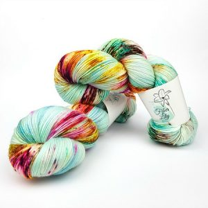 Sophie hand dyed yarn by Fiber Lily Australia aqua with aqua blue, gold, berry and brown speckles non mulesed Australian wool 1