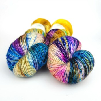 Soirée hand dyed yarn by Fiber Lily Australia speckled blue, purple, orange, yellow, green, brown wool knit and crochet 2
