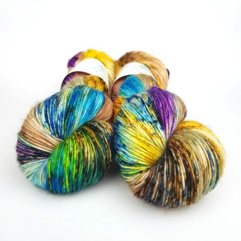Soirée hand dyed yarn by Fiber Lily Australia speckled blue, purple, orange, yellow, green, brown wool knit and crochet 3
