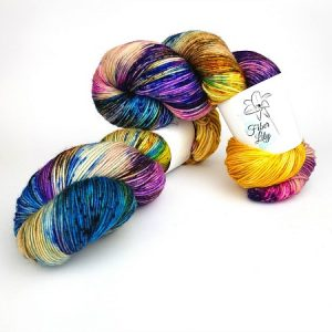 Soirée hand dyed yarn by Fiber Lily Australia speckled blue, purple, orange, yellow, green, brown wool knit and crochet