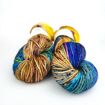 Soirée hand dyed yarn by Fiber Lily Australia speckled blue, purple, orange, yellow, green, brown wool knit and crochet 4
