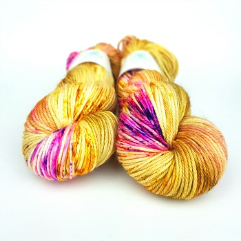 Butterfly Effect hand dyed yarn by Fiber Lily Australia gold base with hot pink, purple, orange and yellow speckles wool for knit and crochet 2