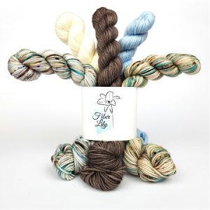 Skipping Stones Yarnling Bundle by Fiber Lily hand dyed yarn Australia mini skeins wool neutral colours knit crochet