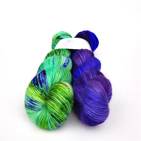 Petite Pair Elixir and Nebulosity Hand Dyed Yarn by Fiber Lily Australia knit crochet wool