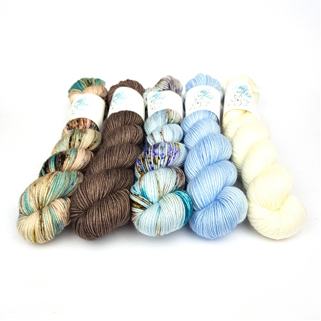 Skipping Stones Petite Pack Hand Dyed Yarn by Fiber Lily Australia wool for knitting and crochet