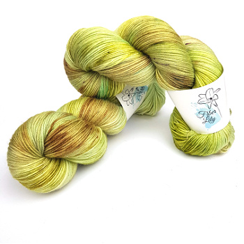 Elm Fairy A Fiber Lily hand dyed yarn Australia Flower Fairies colourway greens and neutral taupe, browns knit crochet 1