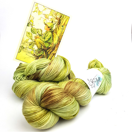 Elm Fairy A Fiber Lily hand dyed yarn Australia Flower Fairies colourway greens and neutral taupe, browns knit crochet